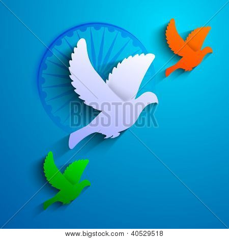 Flying pigeon in Indian Flag color on blue background.. EPS 10.