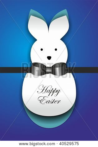 Curl paper Easter bunny card poster