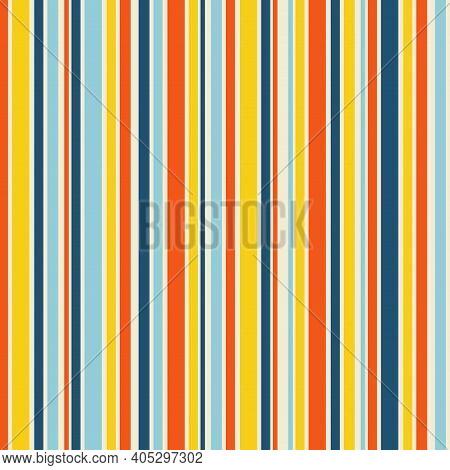 Stripe Seamless Pattern. Multi Color Stripes Background. Retro Colors. 1960s 1970s Mid Century Style