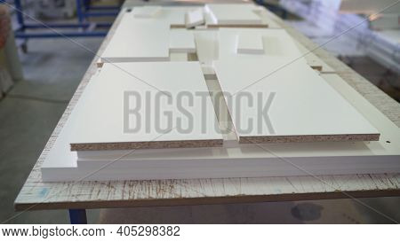 Industrial Factory. Shop For The Manufacture Of Furniture. Blanks For The Production Of Wooden Cabin