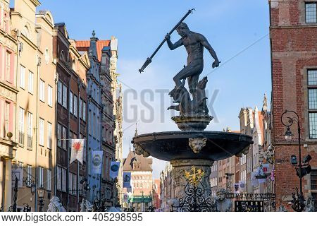 Gdansk, Poland - June 1: View Of Dlugi Targ And Neptune's Fountain Sculpture In Gdansk, Poland, One