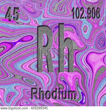 Rhodium Chemical Element, Sign With Atomic Number And Atomic Weight, Purple Background, Periodic Tab