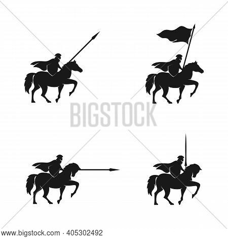 Horseback Knight Silhouette Logo, Horse Warrior Paladin Medieval Logo Design Illustration Set