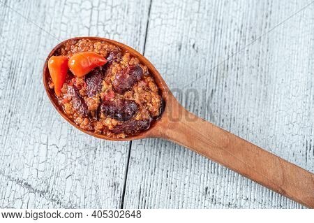 Wooden Spoon Of Chili Con Carne Close Up