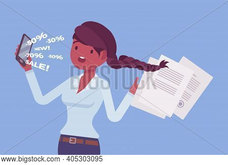 Cold Calling By Telephone For Potential Female Customer. Salesperson Contacting Annoyed Individual,