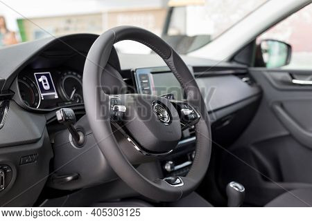 Russia, Izhevsk - September 25, 2020: Skoda Showroom. Steering Wheel And Dashboard Of New Car Busine