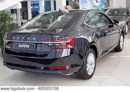 Russia, Izhevsk - September 25, 2020: New Car Business Class Superb In The Skoda Showroom. Back And
