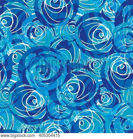 Abstract Paint Dab Circle Vector Seamless Pattern Background. Batik Dye Style Aqua Blue Backdrop Wit