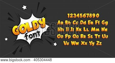 Golden Glossy Comic Book Pop Art Superhero Font. Comic Text Alphabet Collection. Bold Comics Book Fo