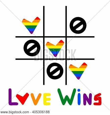 Love Wins - Lgbt Slogan Hand Drawn Lettering Quote With Heart Isolated On The White Background.