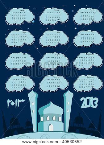 Islamic Calender 2013. EPS 10. poster