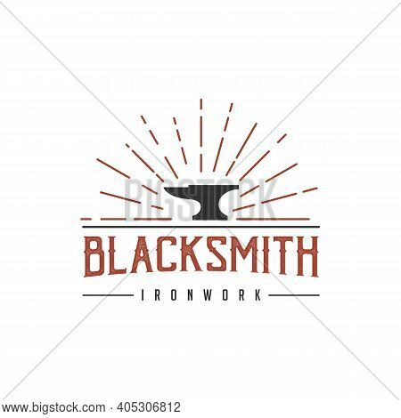 Vintage Retro Hipster Blacksmith Iron Anvil Foundry Logo Design