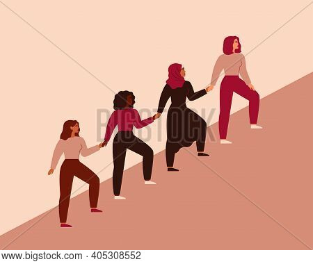 Women Can Do It. Four Female Characters Walk Up Together And Hold Arms. Girls Support Each Other. Fr