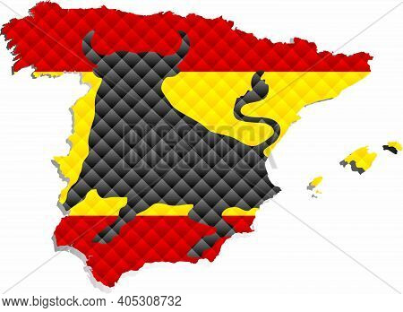 Mosaic Map Of The Spain - Illustration,  Three Dimensional Map Of Spain