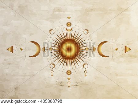 Circle Of A Moon Phase, Triple Goddess Pagan Wicca, Moon Symbol. Vector Isolated On Old Paper Backgr