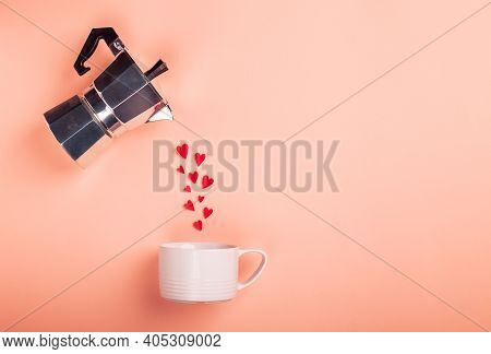 Hearts Pouring From A Geyser Coffee Maker Into A Cup. Valentine's Day Concept. Mininalist Design. To