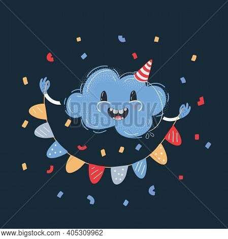 Vector Illustration Of Cloud Caracter Smiling And Celebrate With Buntings On Dark Backround.