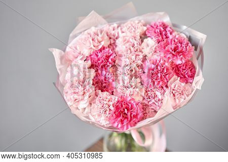 Bunches Of Pink Carnation Flowers Different Varieties In Vases. Lovely Vintage Background With Flowe