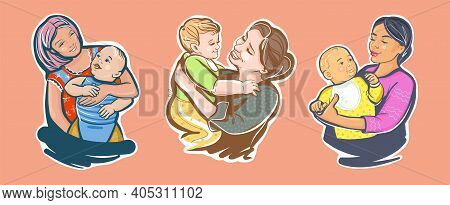 A Set Of Sketches For Happy Mother S Day. Multinational And International Women Are Mothers And Nann