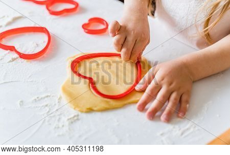 Little Girls, Sisters Cooking Homemade Heart Shaped Cookies For Valentine's Day. Holiday For All Lov