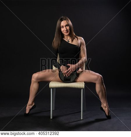 Fitness Woman Gym Black. In A Black Bathing Suit. Beautiful Shin, Womens Diet. Athleticism Shape, To