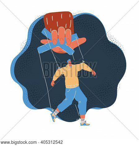 Vector Illustration Of Puppet Control By Big Hand. Man In Dependency Concept On Dark Background.