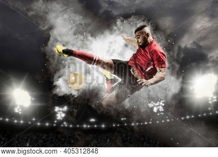 Soccer player in action on smoke background. Sports banner. Copy space background