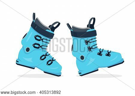 A Pair Of Ski Shoes Isolated On White Background. Winter Sport Equipment Icon. Blue Ski Boots Vector