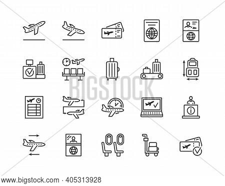 Airport Flat Line Icon Set. Vector Illustration Included Online Booking, Tickets, Check In, Customs