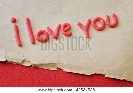 Love confession. The text of the polymer on the old paper