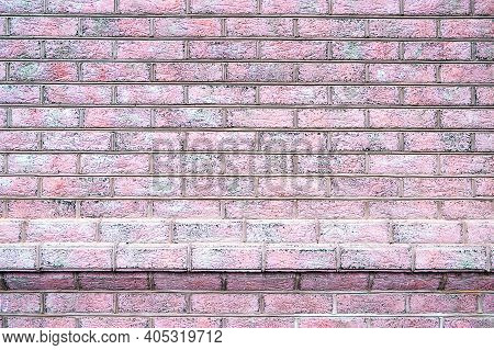 Full Frame Background Of Detailed Old Red Brick Wall With Copy Space. Red Brick Wall. Close-up Old B