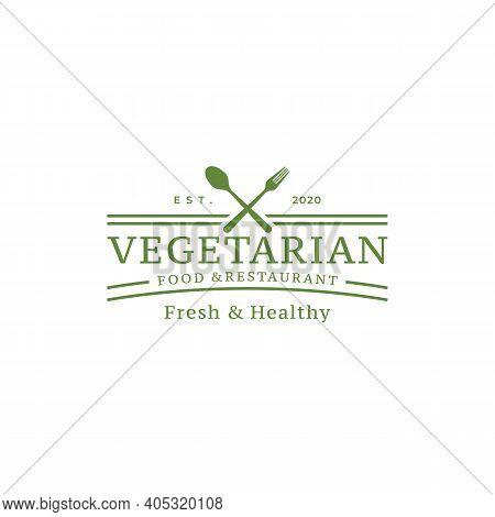 Spoon Fork Knife For Vegan Restaurant Bar Bistro Vintage Retro Logo Design Vector