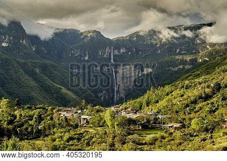 Gocta Cataracts, Catarata Del Gocta, Are Perennial Waterfalls With Two Drops Located In Perus Provin