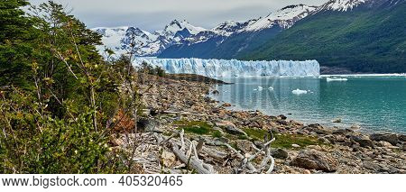 Blue Ice Of Perito Moreno Glacier In Glaciers National Park In Patagonia, Argentina From Far Away Wi