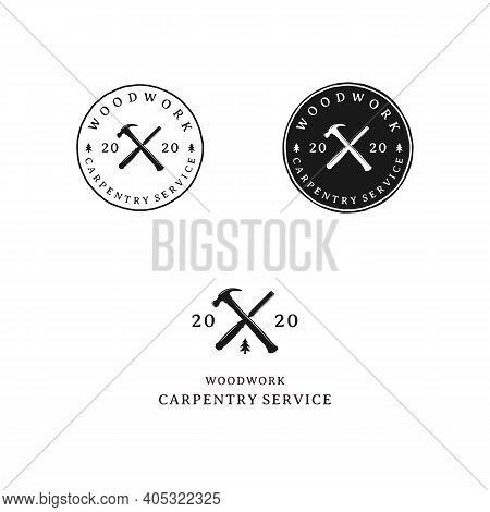 Crossed Hammer And Carver Retro Rustic Hipster Stamp Logo Design