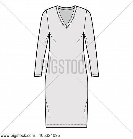 T-shirt Dress Technical Fashion Illustration With V-neck, Long Sleeves, Knee Length, Oversized Body,