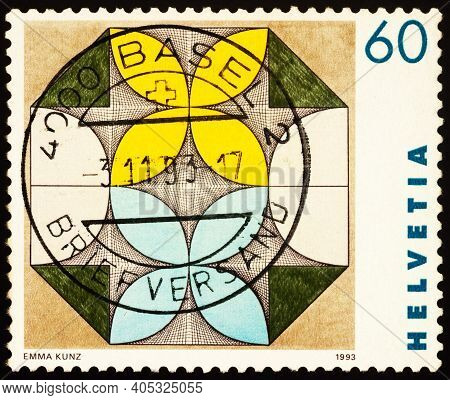 Moscow, Russia - January 27, 2021: Stamp Printed In Switzerland Shows Drawing By Emma Kunz (1892-196
