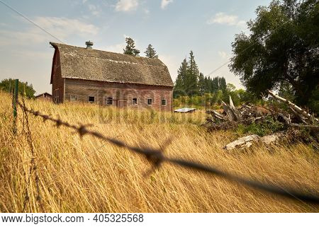 Rustic Barn and Grass. A faded, red barn in the Palouse. Washington State, USA.