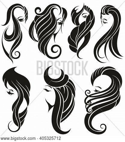 Beauty Salon And Spa Vector Logo. Woman Icon. Hair Vector