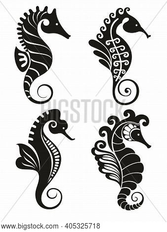 Seahorse Graphic Icons. Seahorse Black Signs Isolated On White Background. Sea Life Symbol. Tattoo.