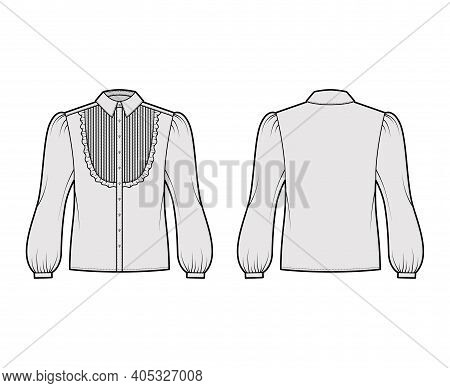 Blouse Tuxedo Technical Fashion Illustration With Long Bouffant Sleeves, Classic Collar, Pintucked B