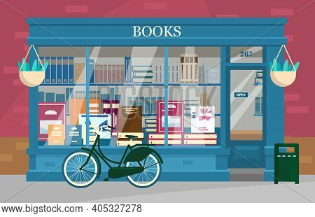 Vector Illustration Of Book Shop Showcase With Lots Of Books With Bicycle Outside. Book Shop Exterio
