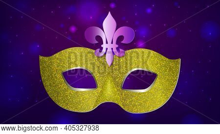 Beautiful Pattern Dark Night Background With Flashes Of Light, Carnival Mask. Mardi Gras Party. Vene