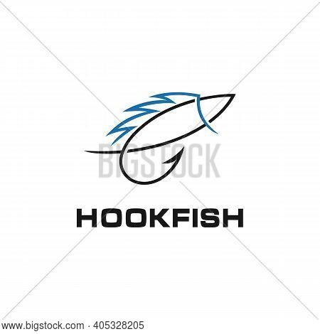 Fish With Hook Fishing Angler Logo Design