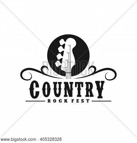 Vintage Retro Country Guitar Bass Music Western Logo Design
