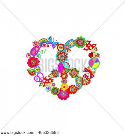Funny paper cutting colorful hippie peace symbol in heart shape with flower-power, fly agaric, paisley, butterflies and  rainbow for t-shirt, bag design, fashion print