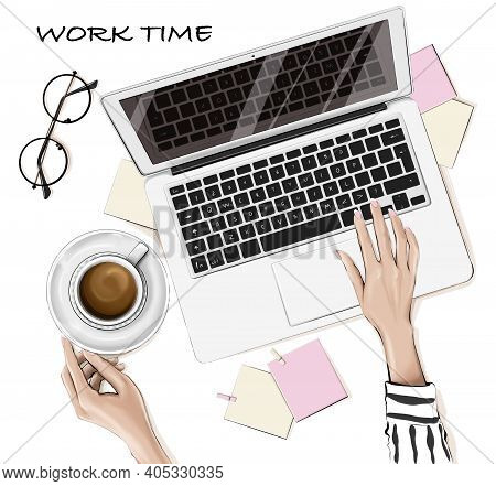Stylish Flat Lay With Laptop, Hands, Coffee Cup, Eyeglasses, Notes On Table. Working Time Concept.
