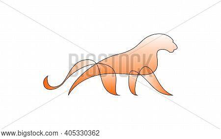 Vector Puma In Gradient Style. Digital Art