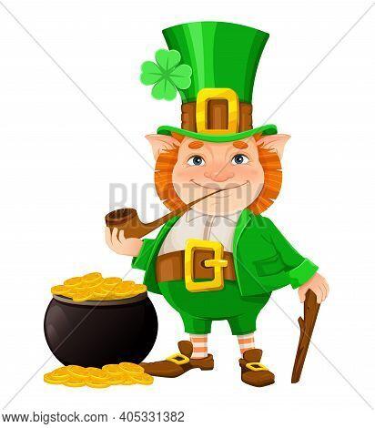 Stock Vector Leprechaun. Happy St Patrick's Day. Cheerful Leprechaun Cartoon Character Isolated On W