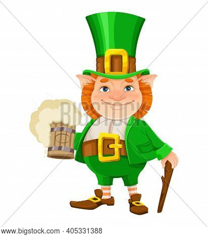 Stock Vector Leprechaun. Happy St Patrick's Day. Cheerful Leprechaun Cartoon Character With Beer